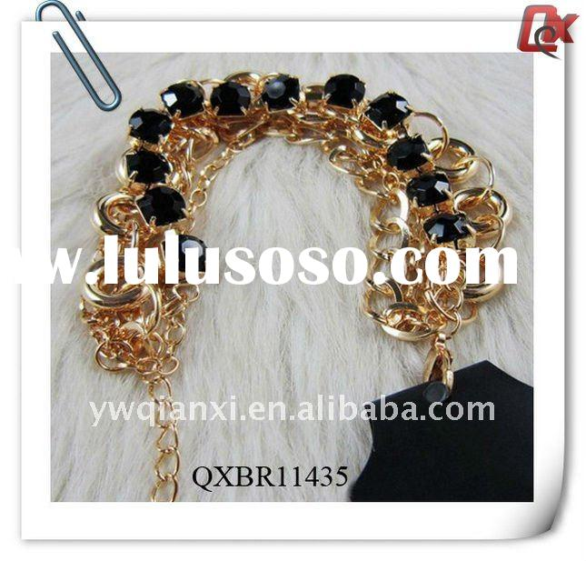 Fashion 24K gold metal chain bracelet with crystal beads (QXBR11435)