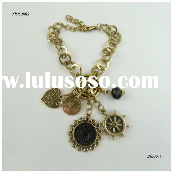 Fashion Black Resin Pendant Gold-plated Alloy Bracelet, Fashion Lady Jewerly Factory Direct Sale