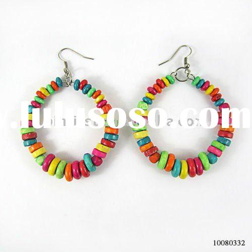 Fashion Hot Selling Handmade Wood Bead Earrings