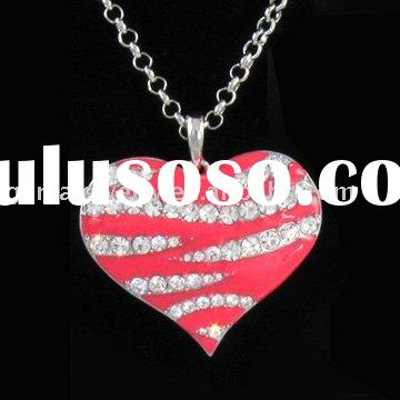 Fashion Jewelry Necklace With Zebra Stripe Pink Heart Pendant