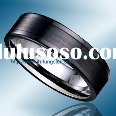 Fashion Jewelry Tungsten and Black Ceramic Ring for Men