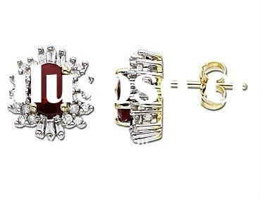 Fashion Ruby Diamond Stud Earrings in Sterling Silver with 18K Gold Plated