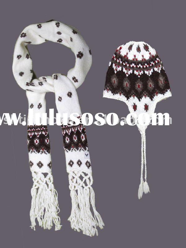 Fashion Winter Knitting Accessories Set - Beanie Scarf and Gloves