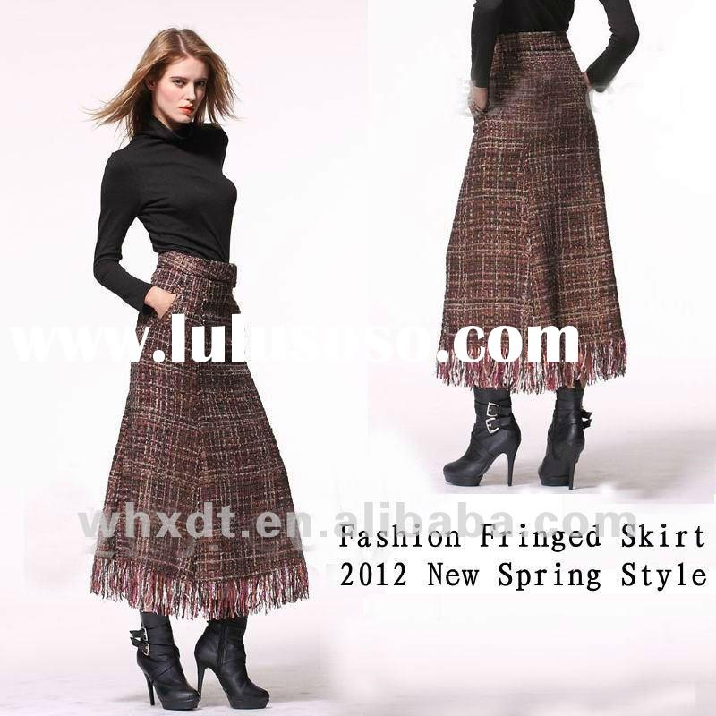 Fashion ladies fringed long skirt hot sell
