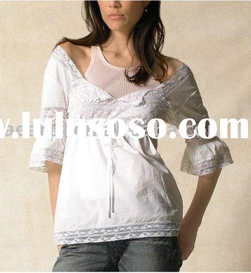 Fashion ladies shirt blouse with lace