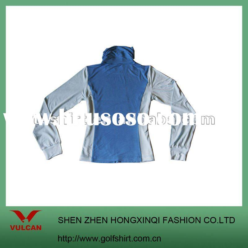 Fashion long sleeve ladies golf clothing with tall collar design