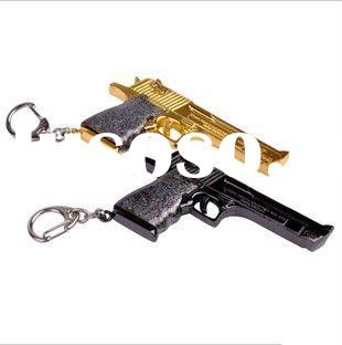 Fashion metal gun keyring PISTOL key ring snap hook zinc alloy toy keychain key chain lobster