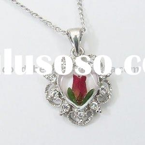 Flower charm, jewelry finding, metal flower charms, wholesale pendant with genuine fresh flower insi