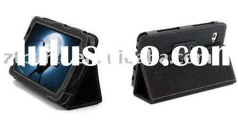 For Samsung Galaxy Tab P1000 Black Leather Cover / Case with Stand