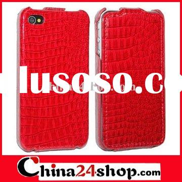 For iPhone 4 hard leather case in smooth, stylish crocodile skin
