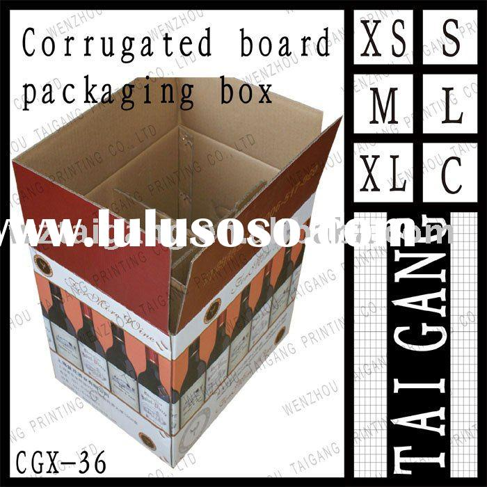For wine carton type double corrugated board packaging box