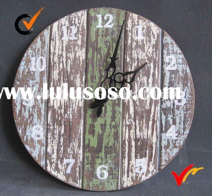 French style vintage wooden wall clock home decoration