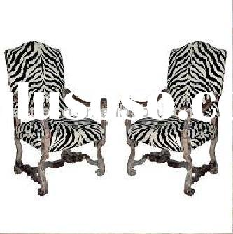 French zebra stripes antique living room chair. 18th century