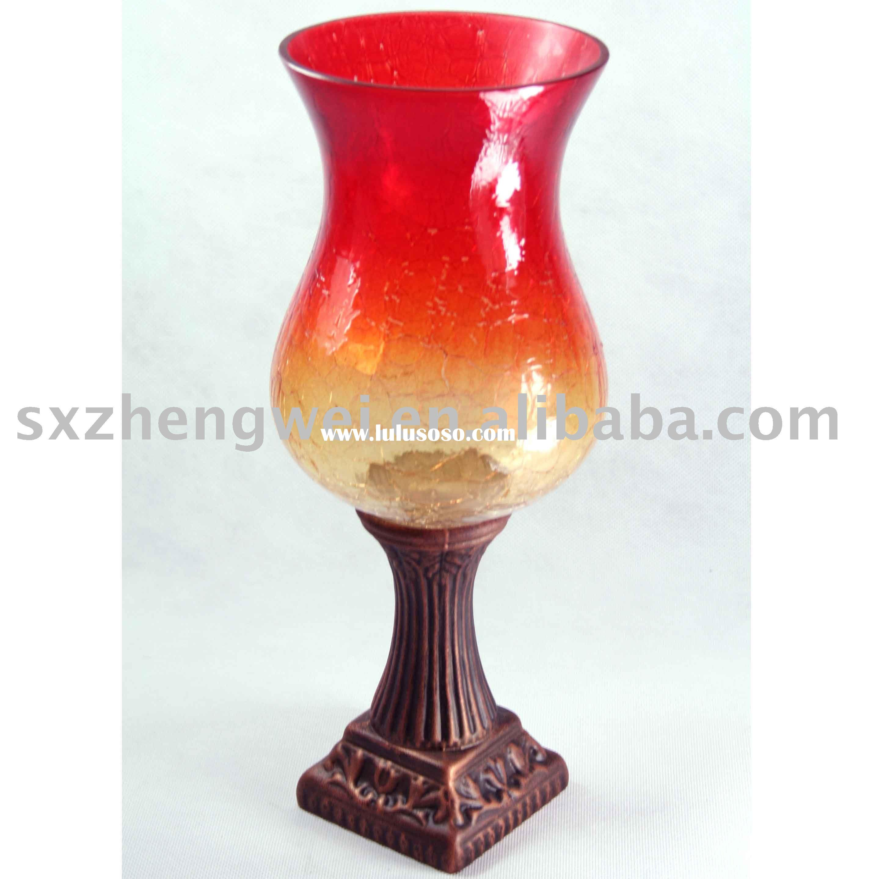 Glass Hurricane Candle Holder with Bronze-colored Base