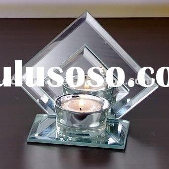Glass mirror tea light candle holder with plating decoration