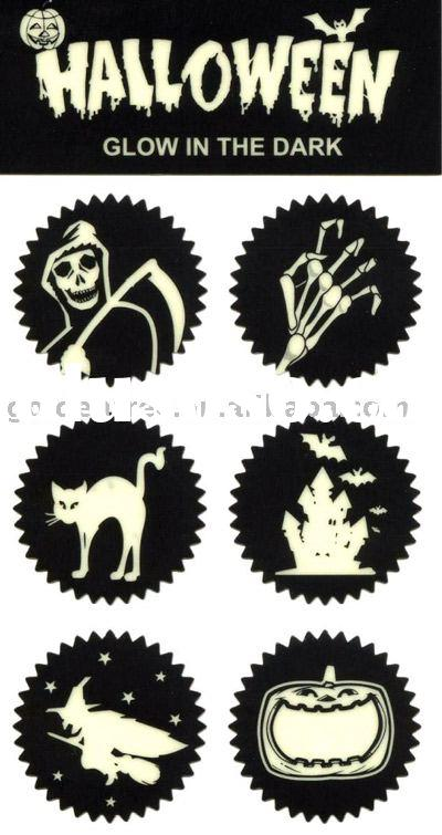 Glow-in-the-dark Halloween Sticker, Various Shapes and Colors are Available