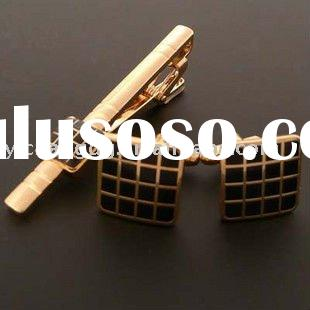 Gold plated stainless steel cufflinks tie clip set