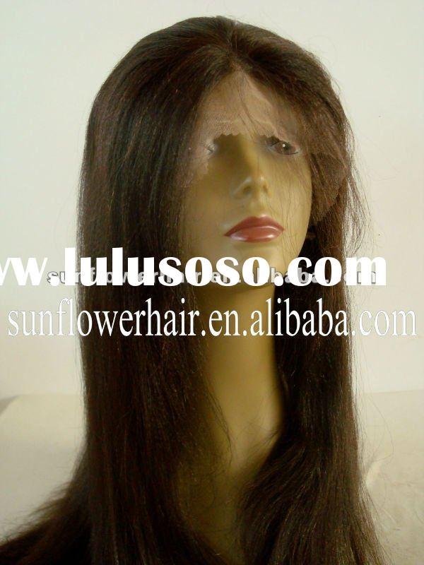 HOT!!! Fashion Yaki straight Indian remy human hair full lace wig accept paypal