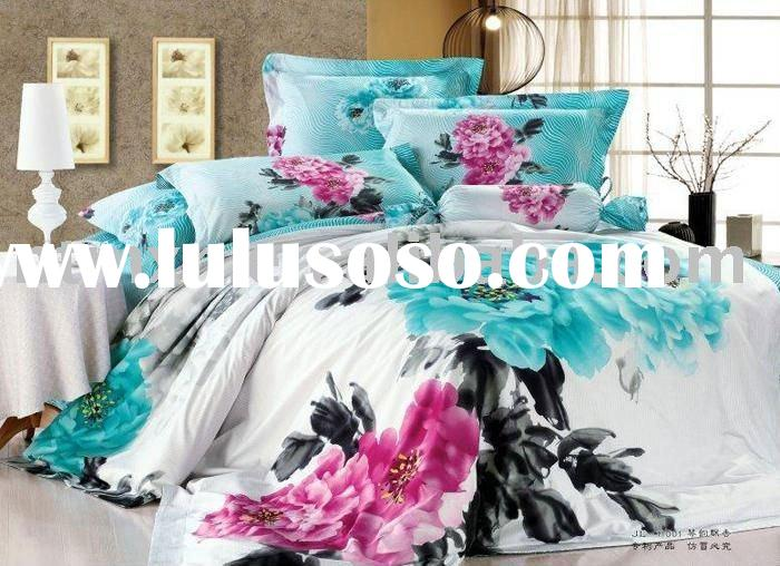High Quality, 100% Cotton 133/72 Reactive Printed Twill 4pc Bedding Set, New Arrival, Blue Color, Di