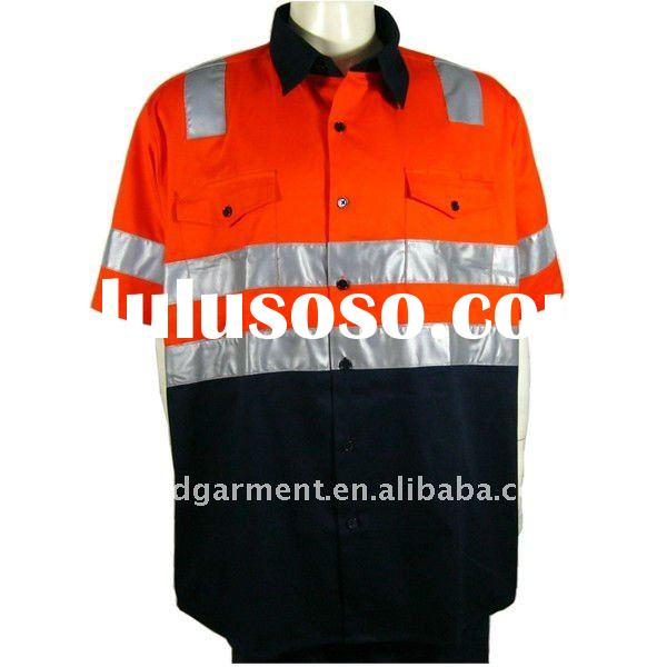 High visibility 100 cotton shirt safety high viz shirts for Hi vis shirts with reflective tape