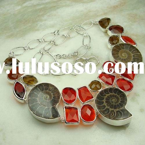 High quality unique natural stone handmade fashion necklace 2011 jewelry LN0221
