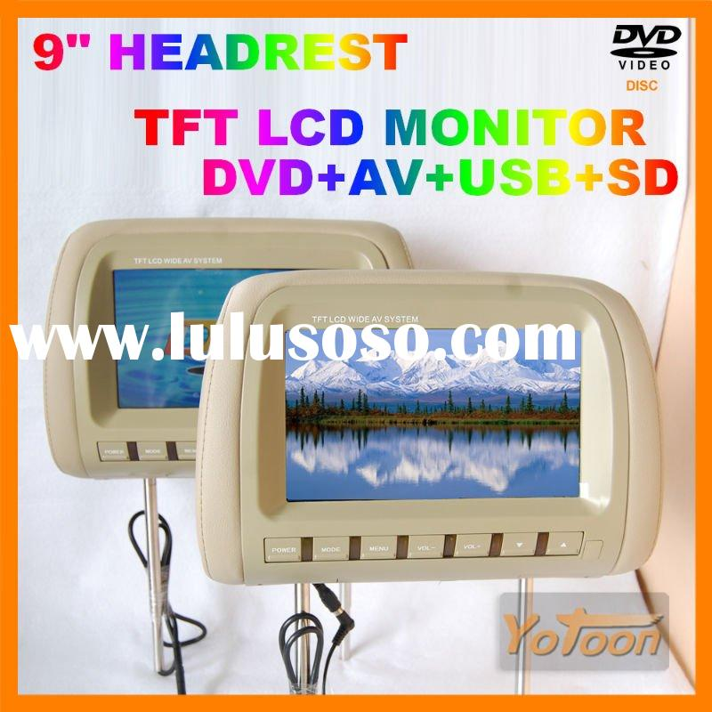 """Hot sale--2X9"""" Car Headrest DVD Monitor with TFT LCD +USB/SD"""