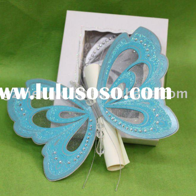 Hot sale blue butterfly shape wedding decoration with scroll card in invitation box-T192