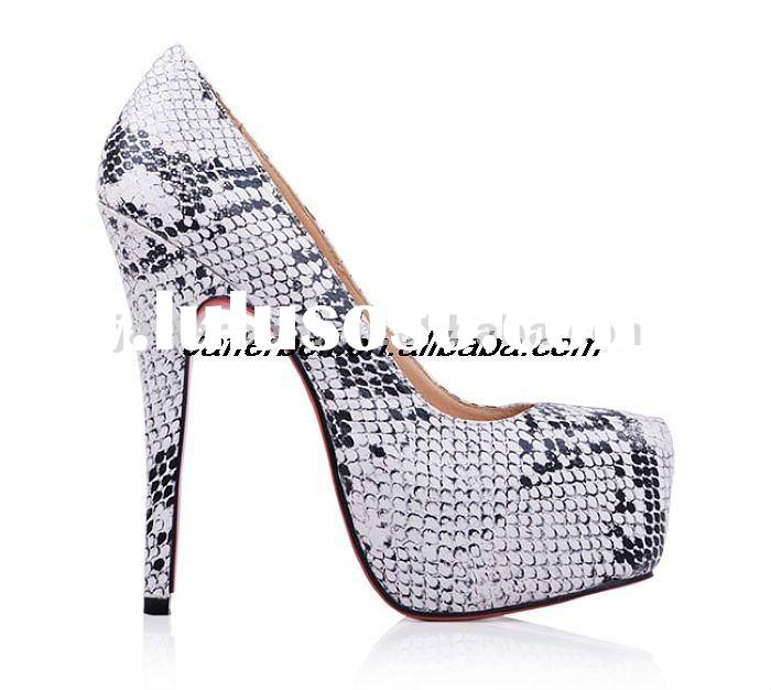 Hot selling red sole women high heel pump shoes 15cm with snake leather