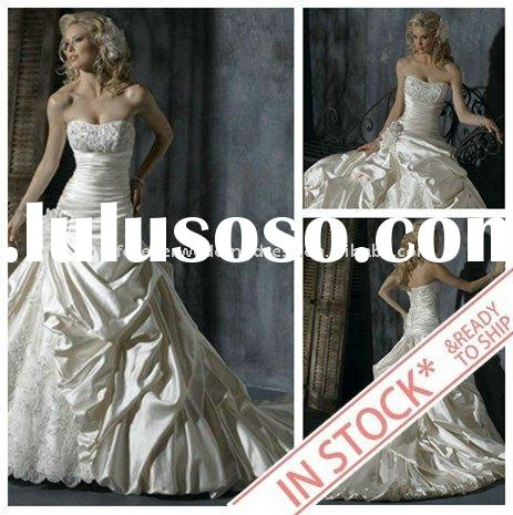 IN STOCK Elegant Satin Lace Custom Wedding Dress 2011