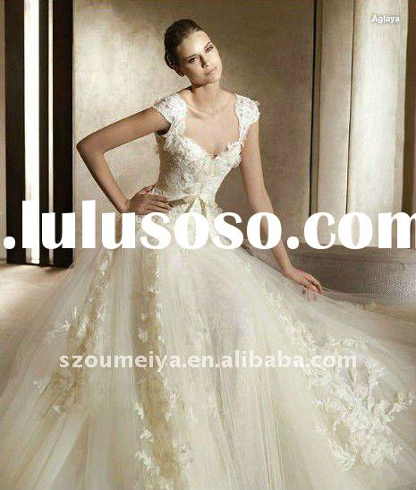 JY137 cap sleeve lace beaded wedding dress,bridal gowns ,wedding gown