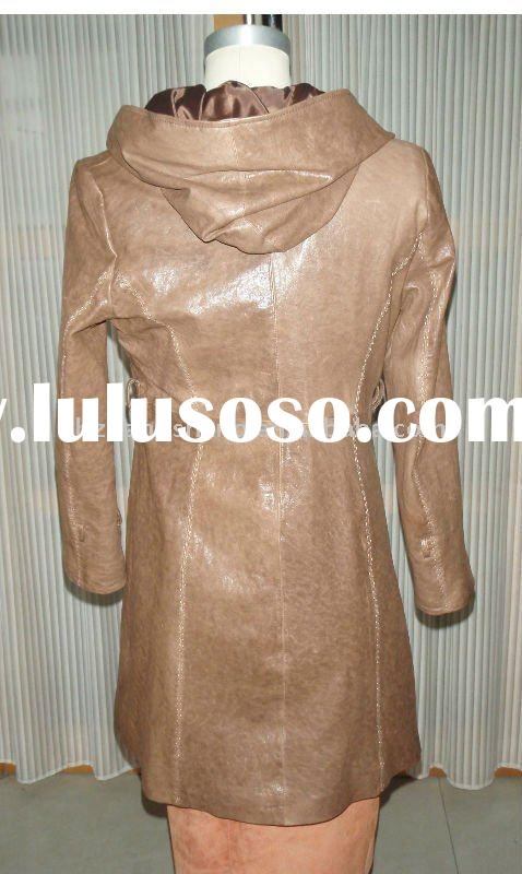 LADIES CRINKLED EFFECT LAMB SKIN COAT,GUARANTEED 100% REAL LEATHER JACKET,Ladies fashion RUFFLER EFF