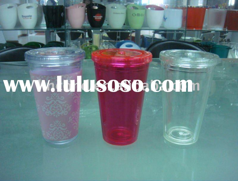 LD-B204 plastic acrylic double wall mugs cups with lids and straws