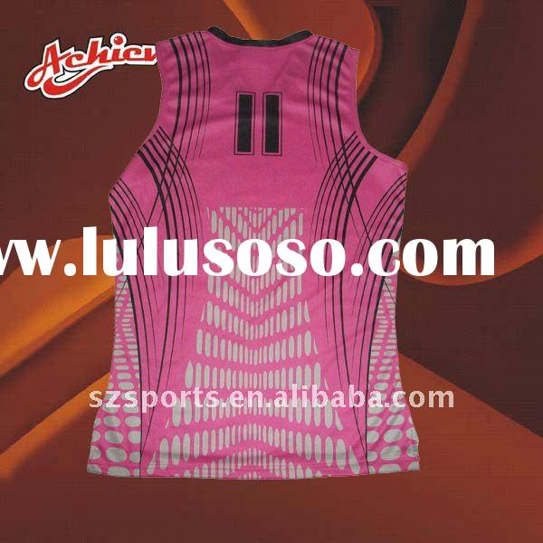Ladies pink basketball jersey with sublimation printed
