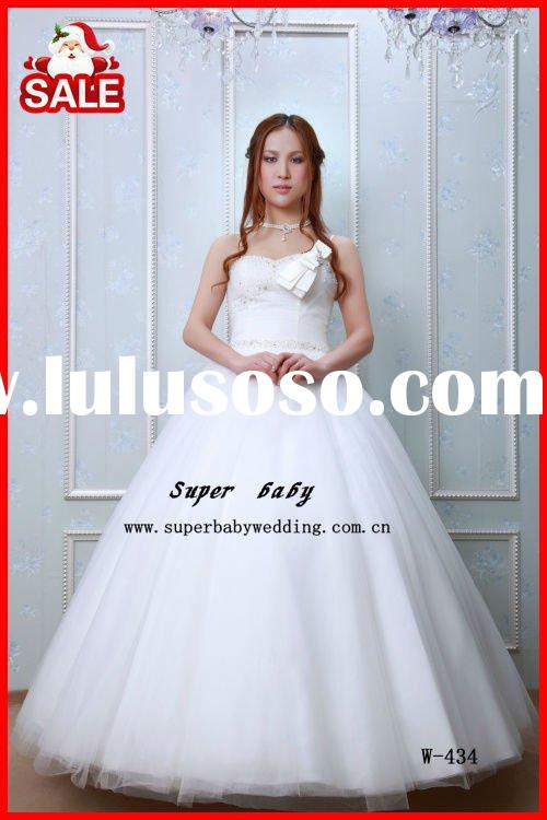 Latest design strapless ball gown W-434 beautiful wedding dress