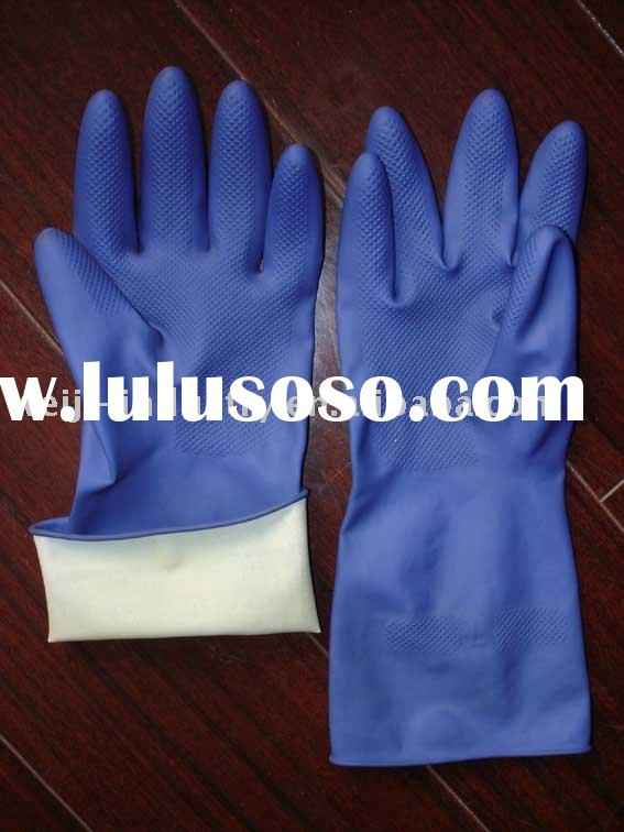Latex household gloves blue color