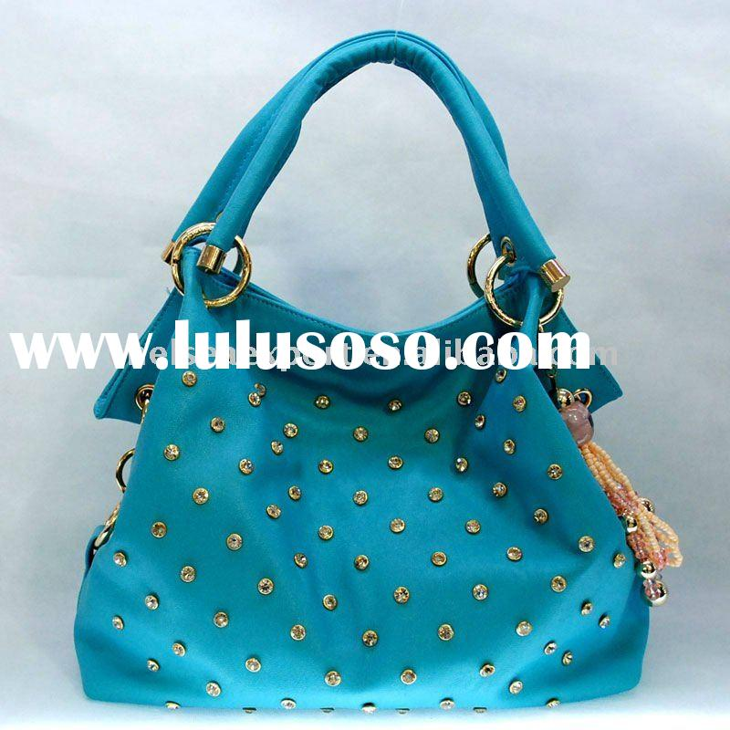 Light Blue Crystal, Shinning Gold Metals Leather Pu Bags Handbags Fashion 2011