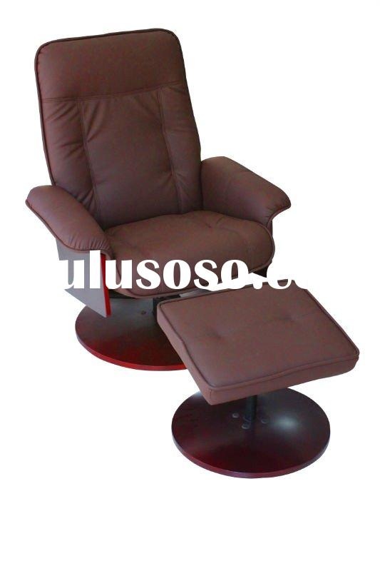 Living room leather swivel recliner chair