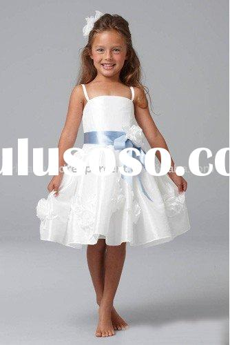 Lovely short spaghetti strap organza flower girl dress FLGZ227