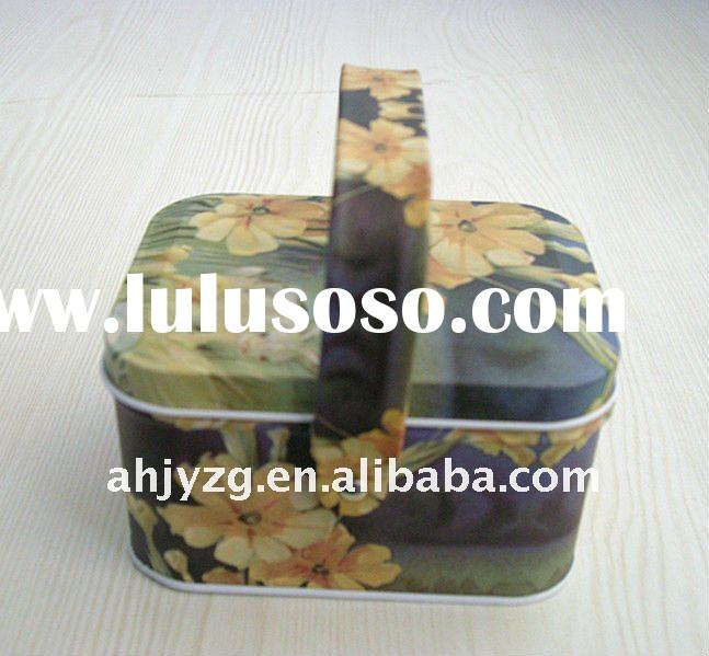 Lunch box tin can with handle