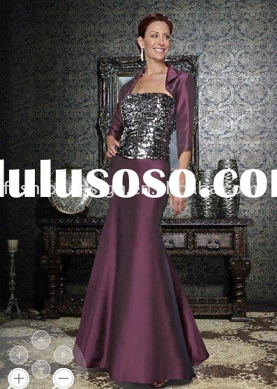 MD443 2011 newest black satin and sequins lace tops with evening jacket mother of bride dress