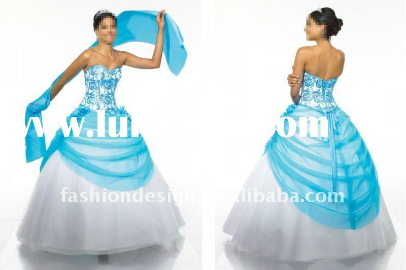 ME-11 Special occasion blue and white tulle embroidered with sweetheart neckline Ball Quinceanera dr