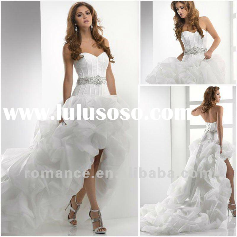 MG1536 White Ruched Organza Skirt Sweetheart neckline Front Short and Long Back Asymmetrical Bridal