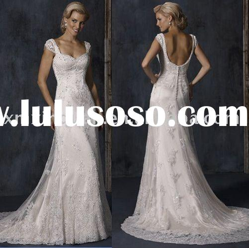 MSW428 Cap sleeve sweetheart beaded lace overlay wedding gown