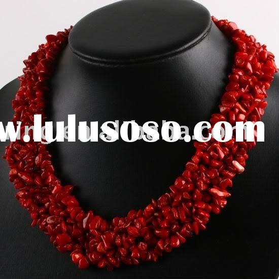 Manmade Red Coral Chip Gemstone Beads Necklace