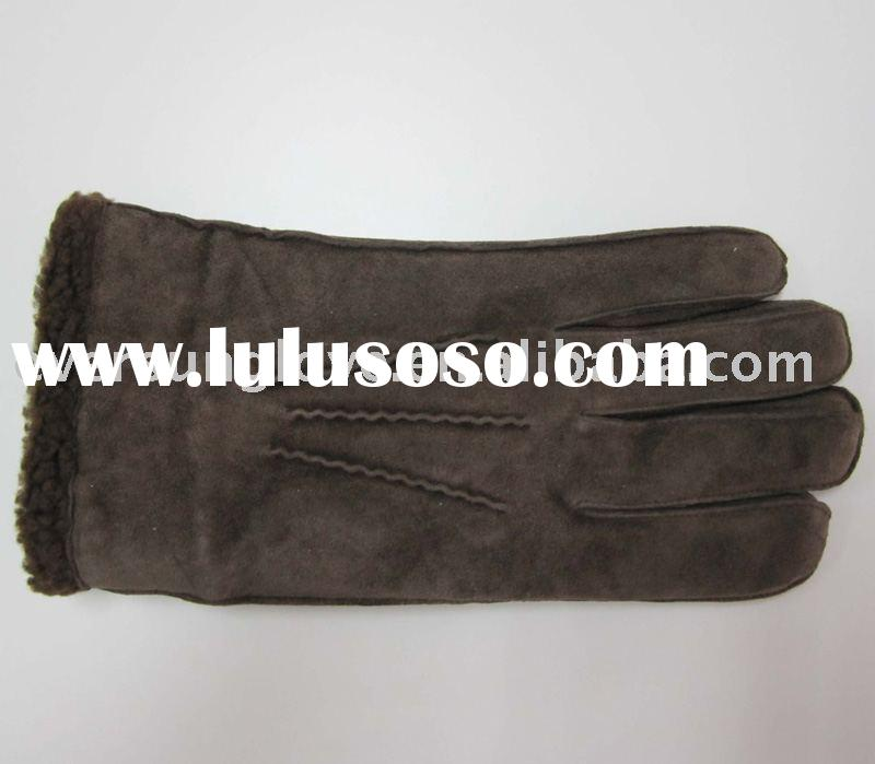 Men's pig suede leather glove, leather winter gloves