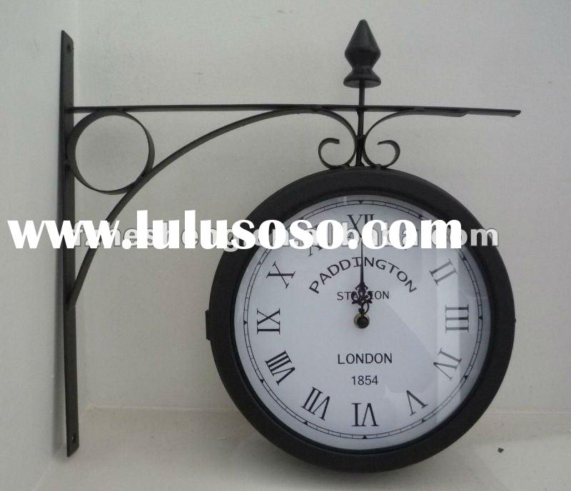 Metal double sides wall clock for garden