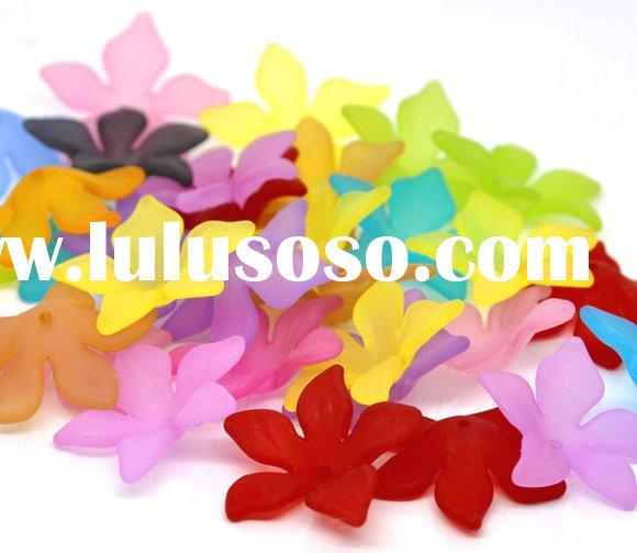 Mixed Flower Frosted Acrylic Beads 28x7mm