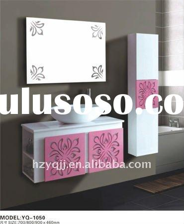 Modern design PVC bathroom cabinet with side cabinet and mirror