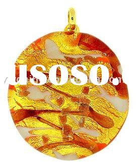 Murano Glass Round Pendant Orange Amber And White Gold Necklace.LMNB-3616