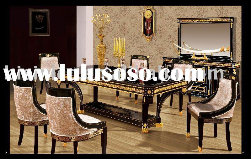 NEW ITEM-Luxury classical black& gold colour home Dining room furniture set,solid wood, hand car